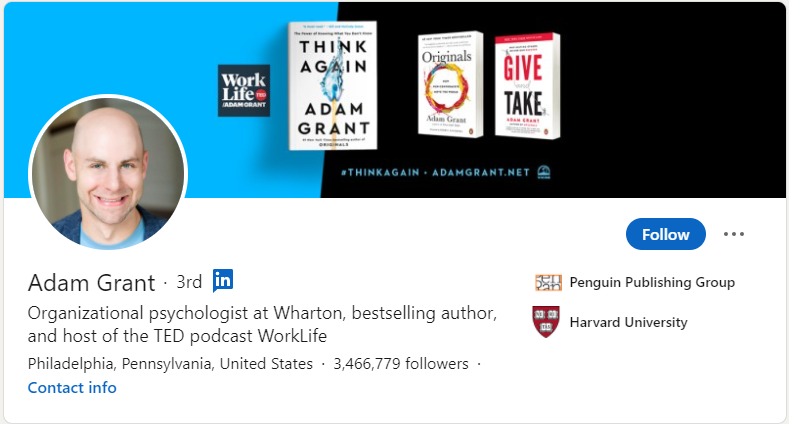 adam grant linkedin thought leader
