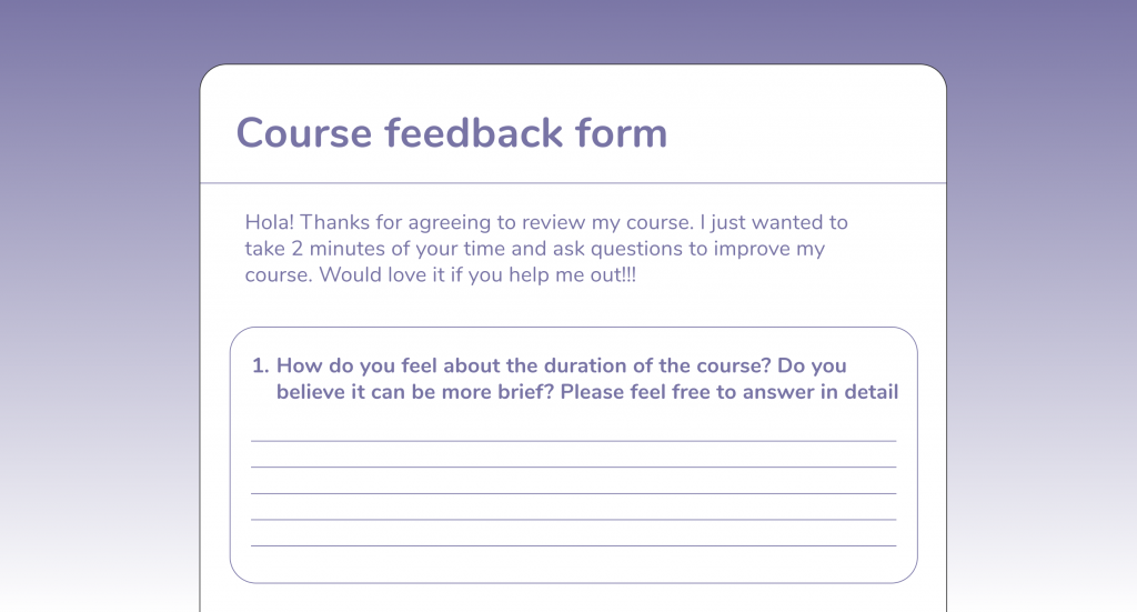 online course feedback form for course duration